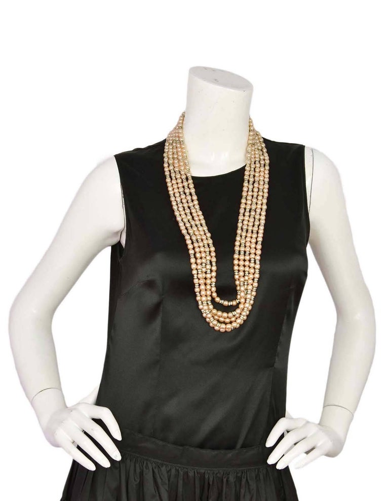 CHANEL Vintage '90s Multi-Strand Pearl & Crystal Rondelle Necklace 6