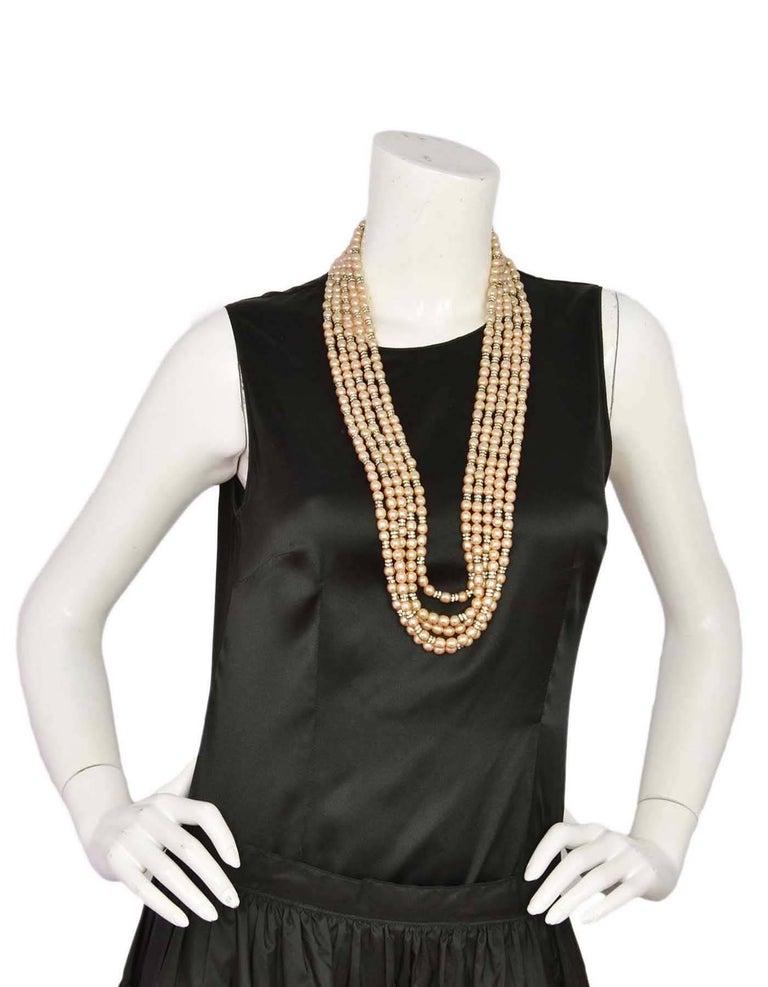 Chanel Vintage '90s Multi-Strand Pearl & Crystal Rondelle Necklace For Sale 2
