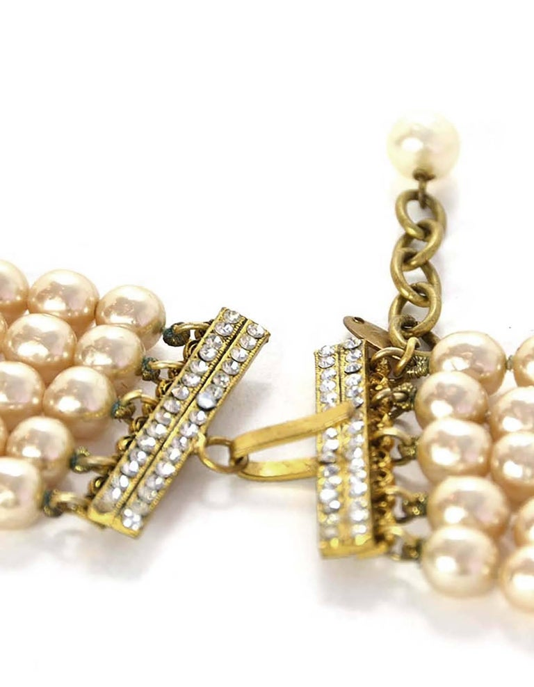 Women's Chanel Vintage '90s Multi-Strand Pearl & Crystal Rondelle Necklace For Sale
