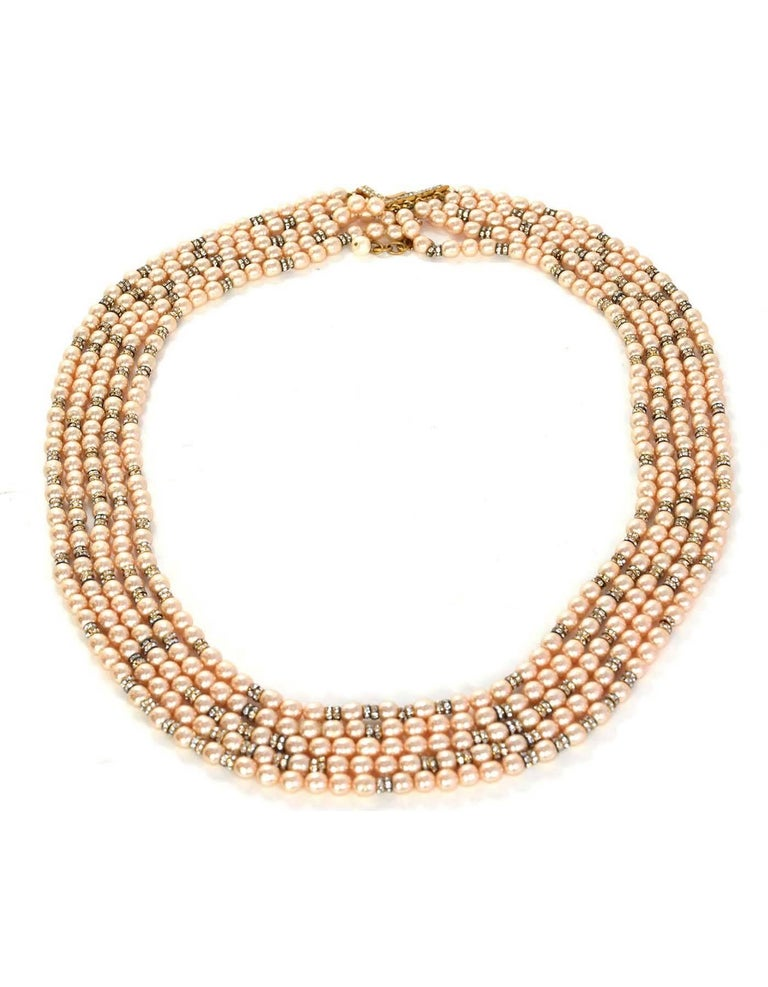 Chanel Vintage '90s Multi-Strand Pearl & Crystal Rondelle Necklace In Excellent Condition For Sale In New York, NY