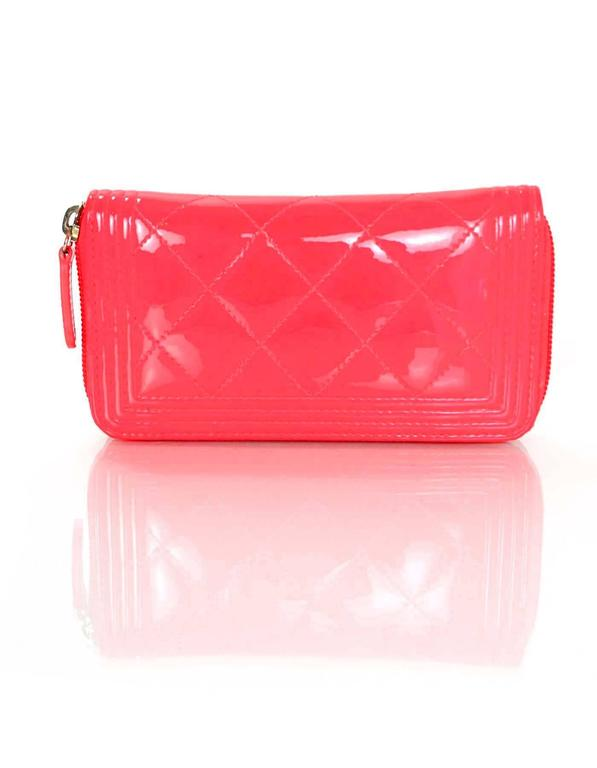 10 26 Chanel Neon Pink Patent Leather Small Boy Wallet For