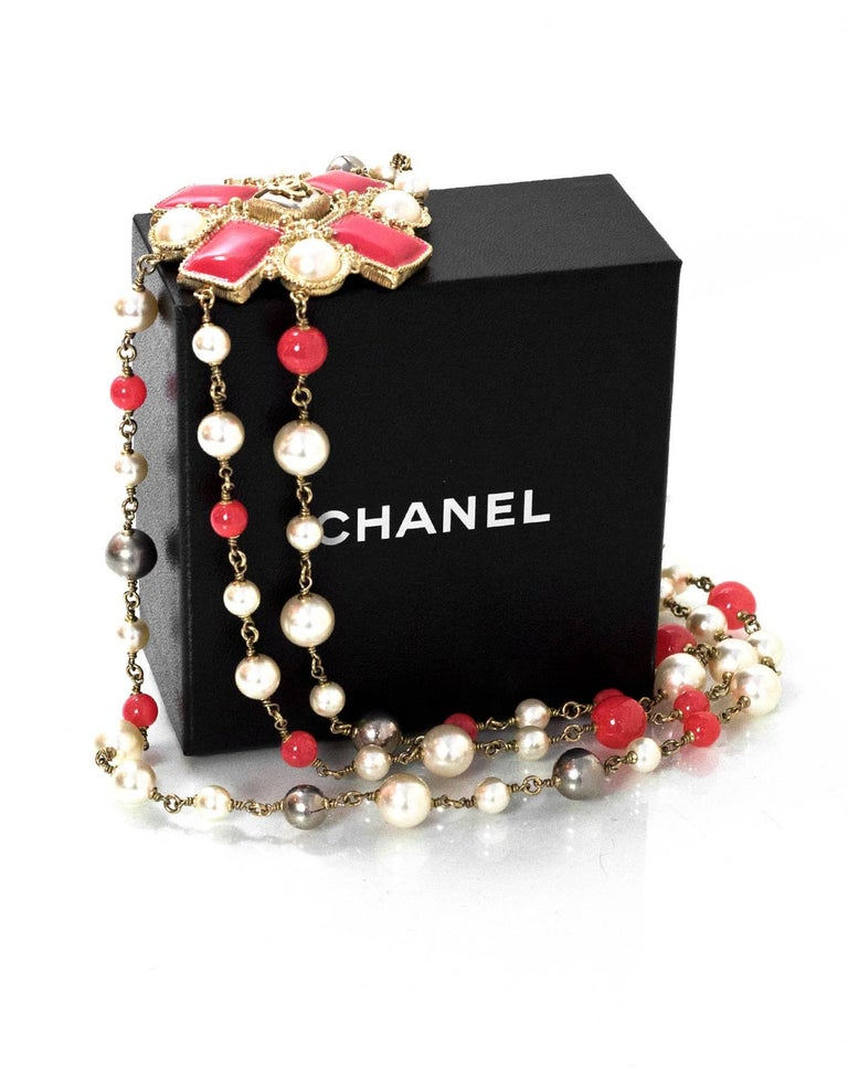 Chanel Multi-Strand Pearl & Enamel Maltese Cross Necklace 4