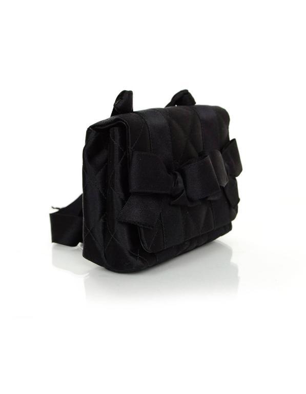 Chanel Vintage Black Satin Bow Crossbody Bag 3