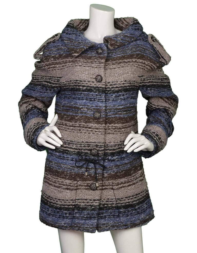 Chanel Blue & Grey Heavy Knit Sweater Coat sz FR40 2