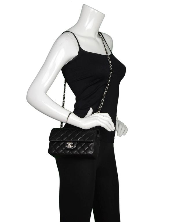 3860a0daf25e6e Chanel Black Lambskin Leather Quilted Rectangular Mini Flap Crossbody Bag  For Sale 6