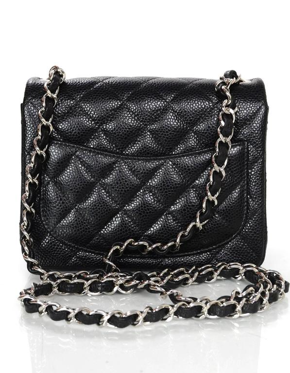d1e341b7bf4e50 Chanel Black Caviar Leather Quilted Square Mini Crossbody Flap Bag SHW In  Excellent Condition For Sale