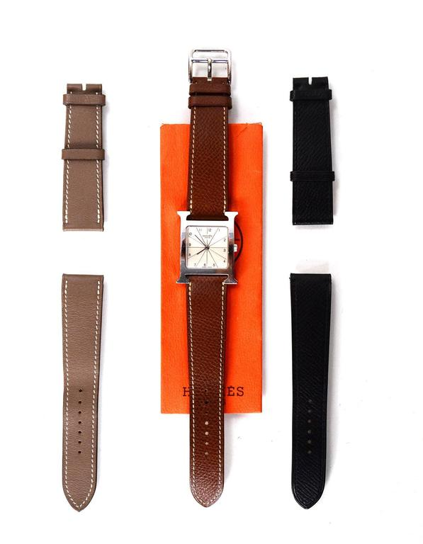 Hermes Tan Heure H MM Watch w/ Grey & Black Extra Bands 4