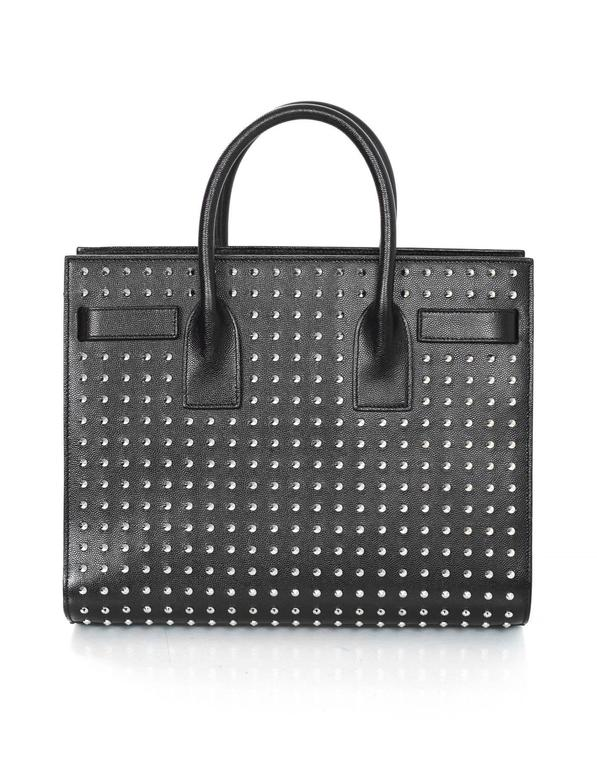 Saint Laurent Black/Silvertone Studded Small Sac De Jour Tote Bag rt. $3,700 In Excellent Condition In New York, NY