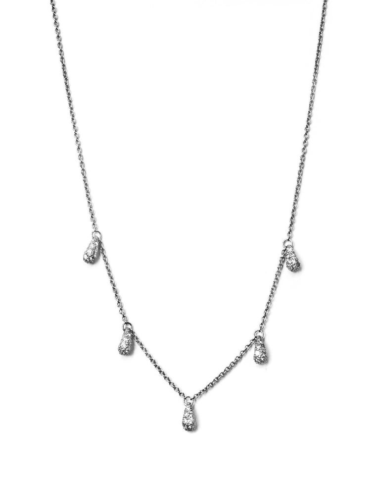 Tiffany & Co. Elsa Peretti Diamond & Platinum Necklace Features 5 tear drop pendants with pavé diamonds set in platinum. Tear drops inspired by a solitary raindrop or a shining bead of morning dew. Color: Silver Materials: Diamonds and