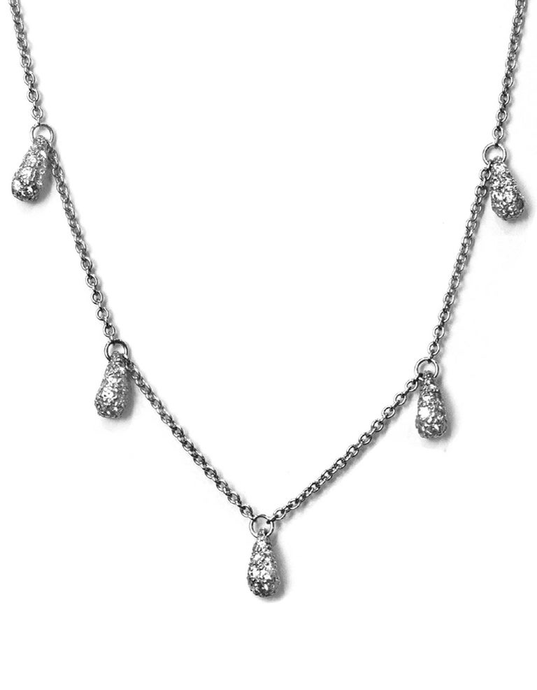 Tiffany & Co. Elsa Peretti Five Teardrop Diamond Platinum Chain Necklace In Excellent Condition For Sale In New York, NY