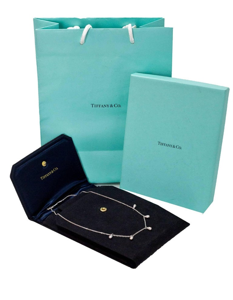 Tiffany & Co. Elsa Peretti Five Teardrop Diamond Platinum Chain Necklace For Sale 1