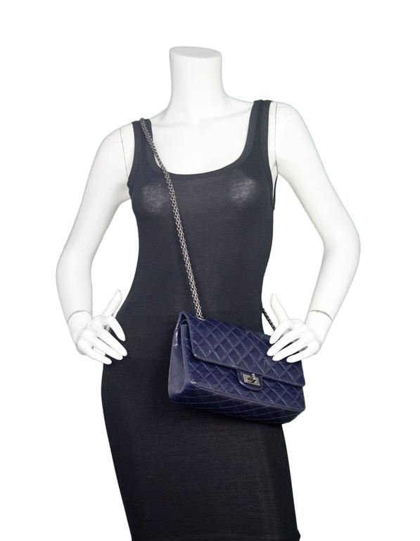 4c63f8727849 Black Chanel Navy Blue Patent Leather 2.55 225 Reissue Double Flap Classic  Bag For Sale