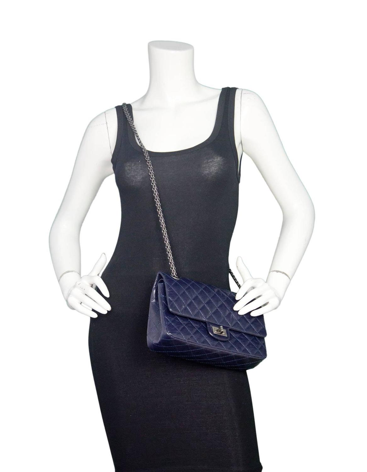 00ddf8d676c6 Chanel Navy Blue Patent Leather 2.55 225 Reissue Double Flap Classic Bag  For Sale at 1stdibs