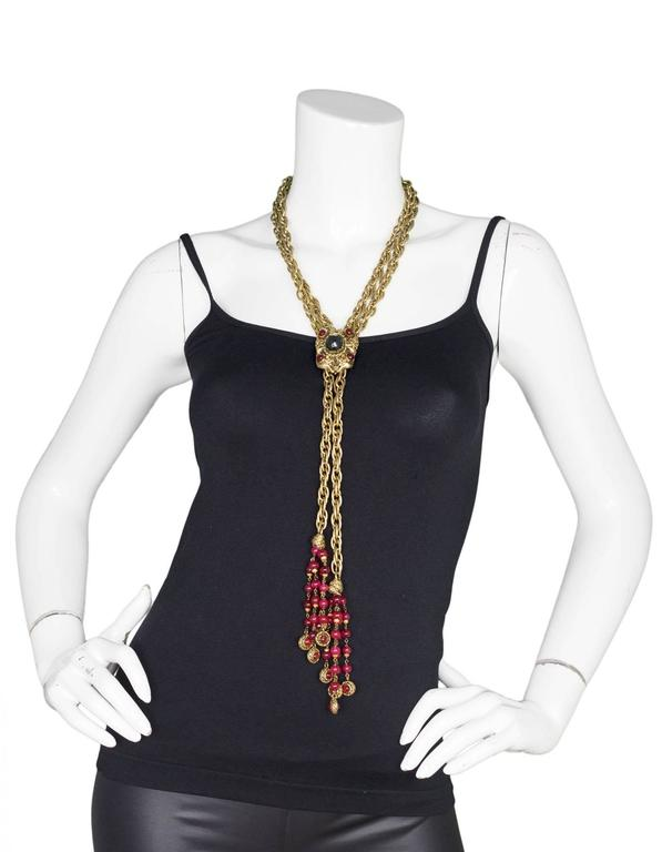 Chanel Vintage '80s RARE COLLECTORS Chain Lariat Necklace With Gripoix Tassel  For Sale 1
