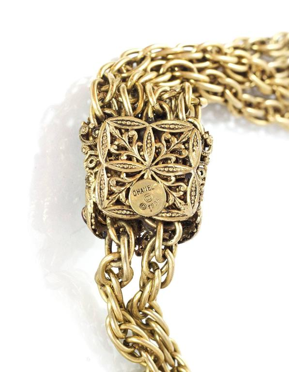 Women's Chanel Vintage '80s RARE COLLECTORS Chain Lariat Necklace With Gripoix Tassel  For Sale