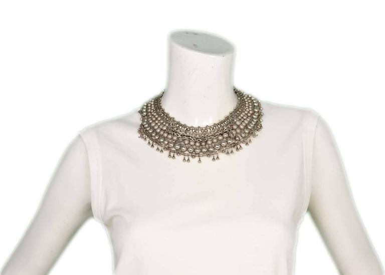 Chanel Paris-Bombay Silver Beaded Bib Necklace 7