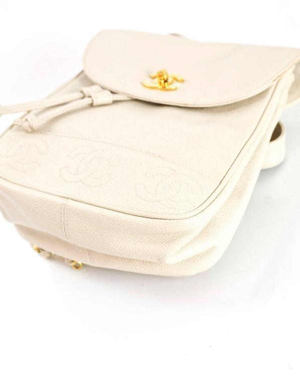 Chanel Vintage Ivory Caviar Leather Leather CC Backpack 5