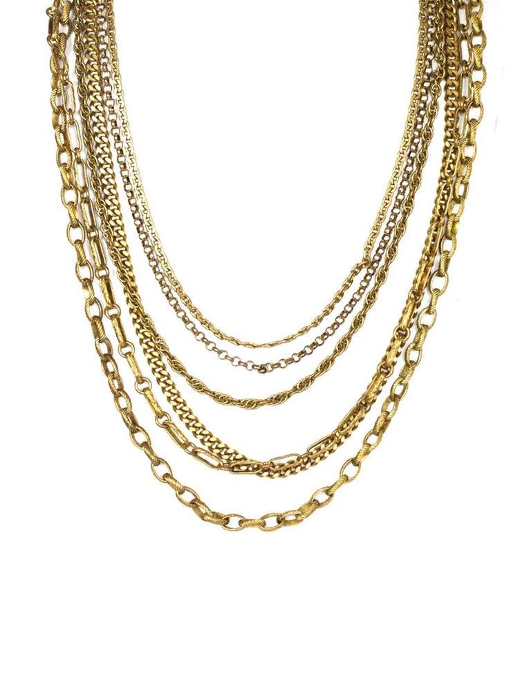 Chanel Vintage 6 Strand Goldtone Chain-link Gripoix Necklace 2