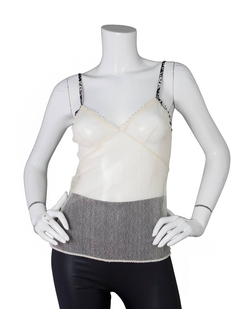 Chanel Beige Mesh Camisole sz S In Excellent Condition For Sale In New York, NY