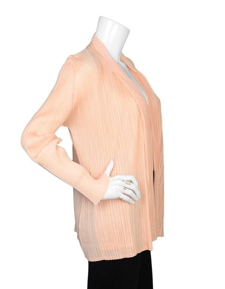 Beige Pleats Please Peach Micro-Pleated Open Jacket sz 5 For Sale