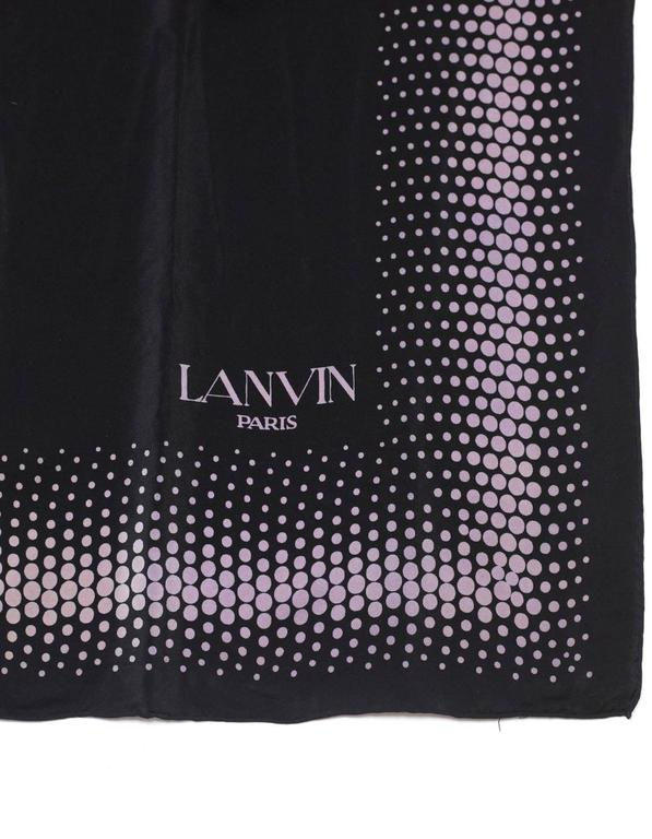 """Lanvin Black & Purple Polka Dot Silk 32"""" Scarf In Excellent Condition For Sale In New York, NY"""
