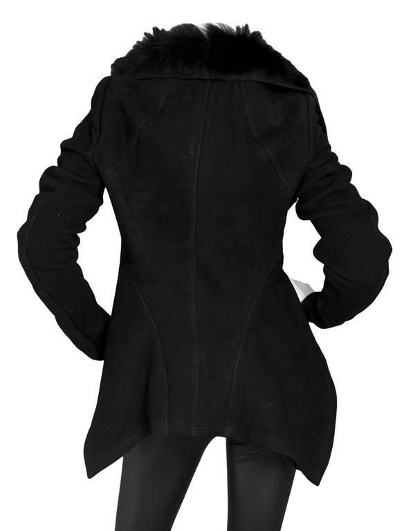 Rick Owens NEW Nasaka Black Suede & Shearling Biker Jacket sz IT48 For Sale 1