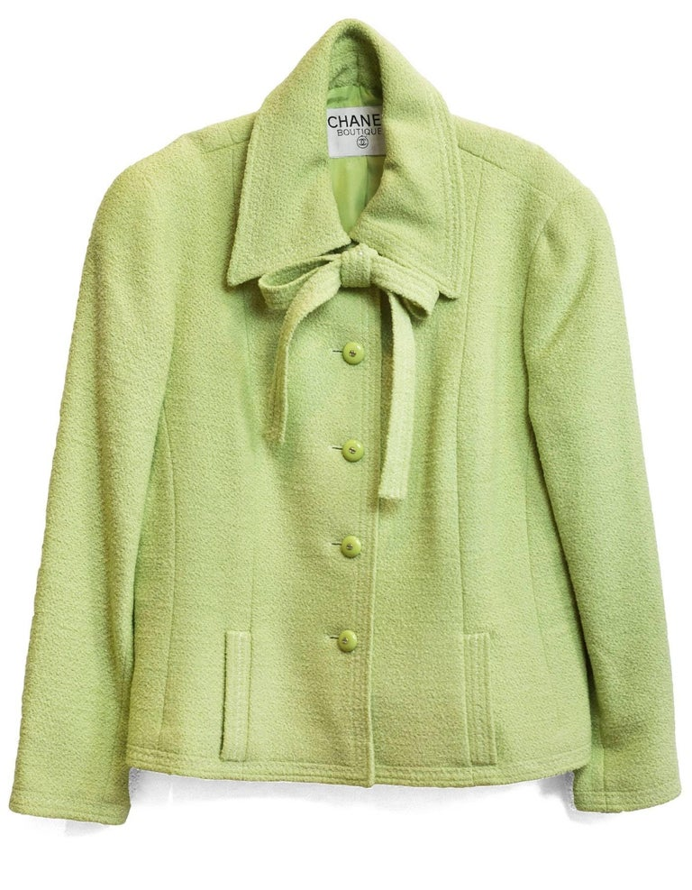 Chanel Chartreuse Boucle Button-Up Jacket w/ Neck Tie 2