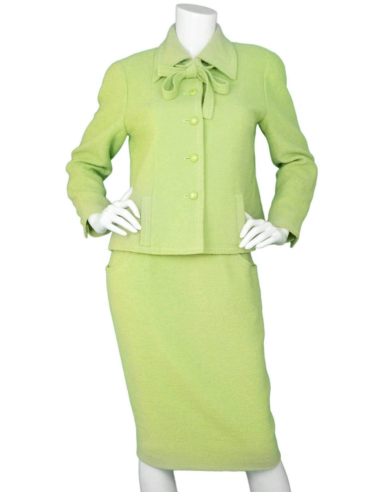 Chanel Chartreuse Boucle Button-Up Jacket w/ Neck Tie 4