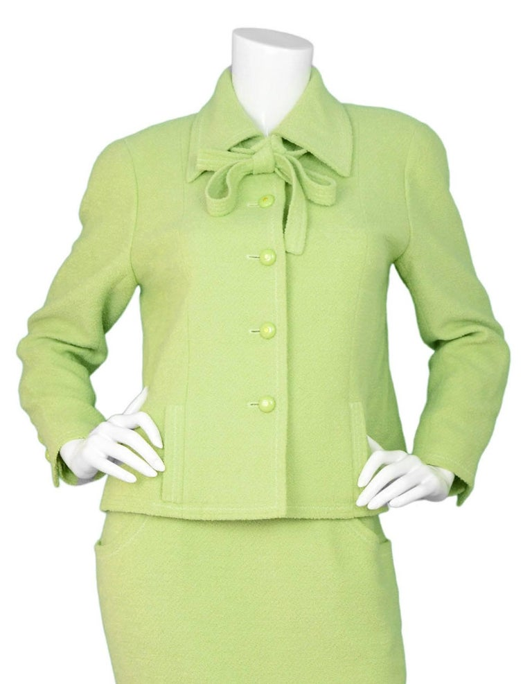 Chanel Chartreuse Boucle Button-Up Jacket w/ Neck Tie 3