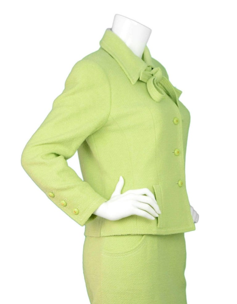 Chanel Chartreuse Boucle Button-Up Jacket w/ Neck Tie 5