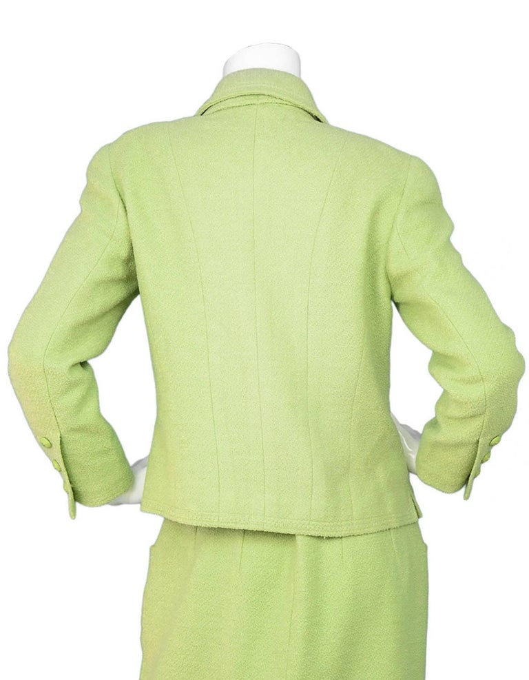 Chanel Chartreuse Boucle Button-Up Jacket w/ Neck Tie 6