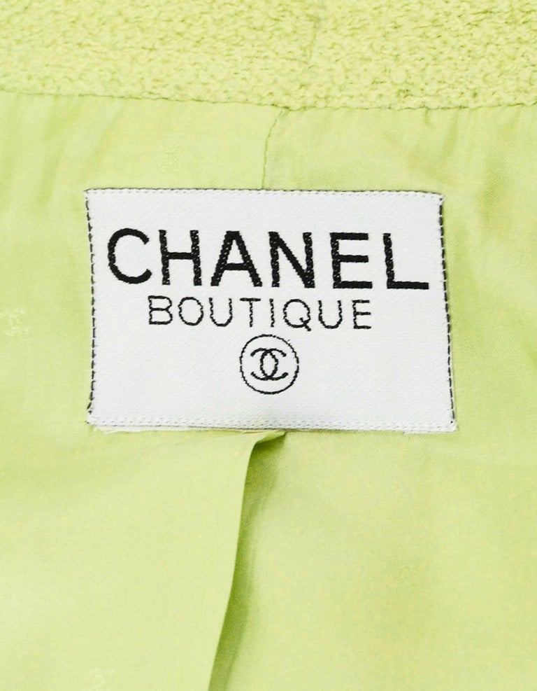 Chanel Chartreuse Boucle Button-Up Jacket w/ Neck Tie 8