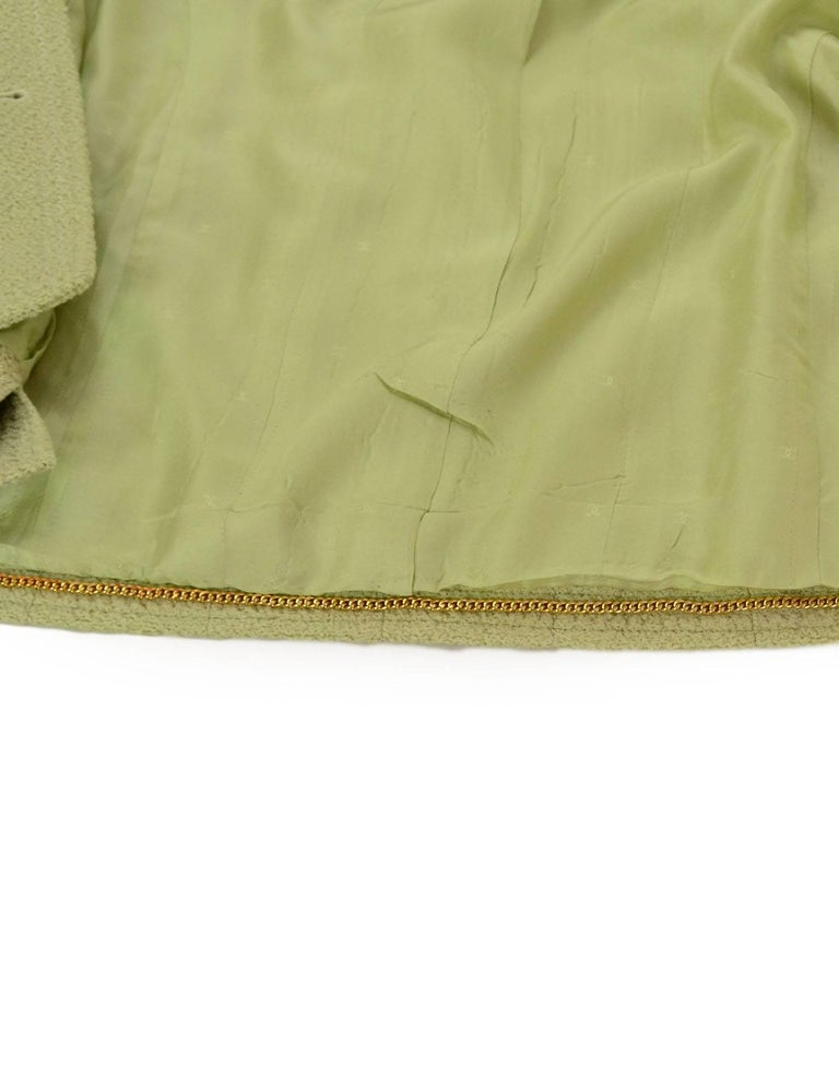 Chanel Chartreuse Boucle Button-Up Jacket w/ Neck Tie 7