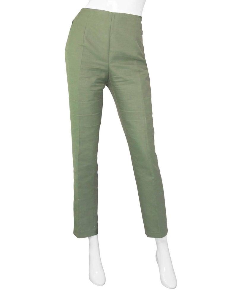 Akris Green Cropped Pants Sz 10 2