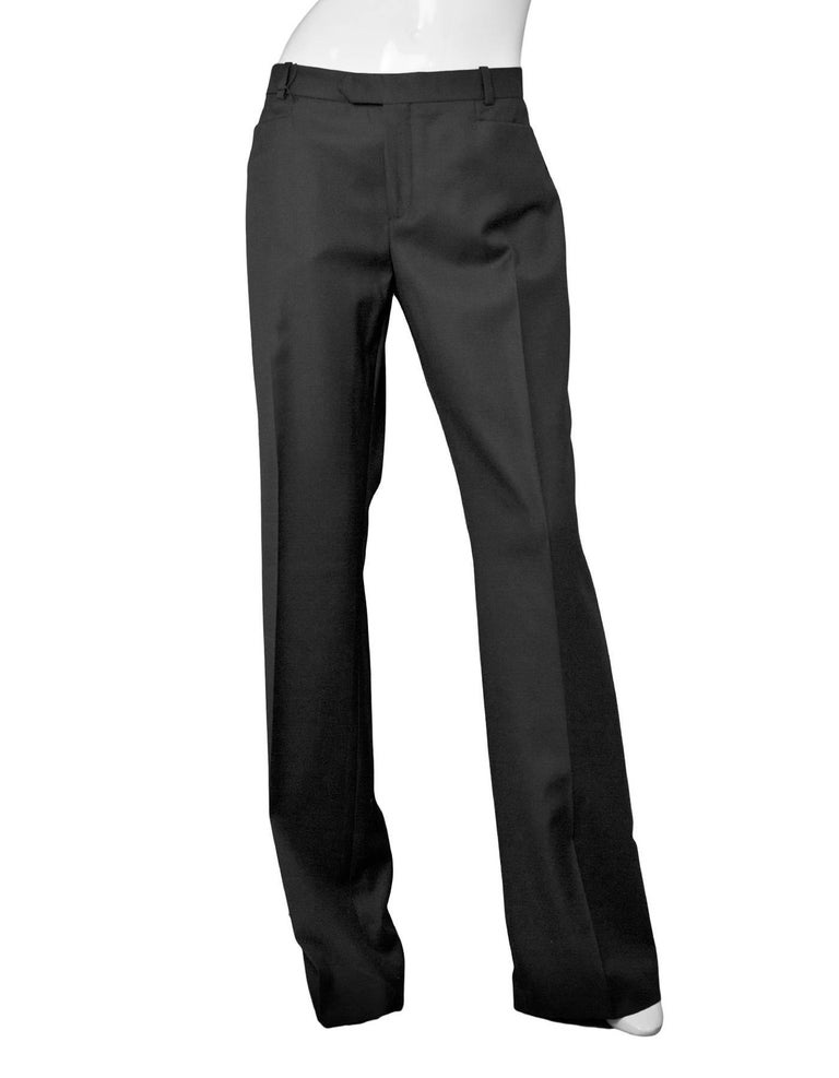 Joseph Black Wool Pants Sz IT42 NWT Bootcut pant in Rockstar Super 100 fit  Made In: Romania Color: Black Composition: 100% Wool Lining: None Closure/Opening: Front zip and double hook closure Exterior Pockets: Two back pockets and two slit pockets