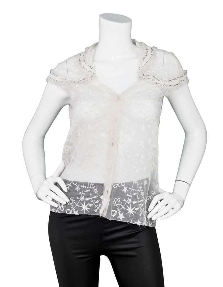 Gray Nina Ricci White Embroidered Silk Cap Sleeve Top sz US4 For Sale