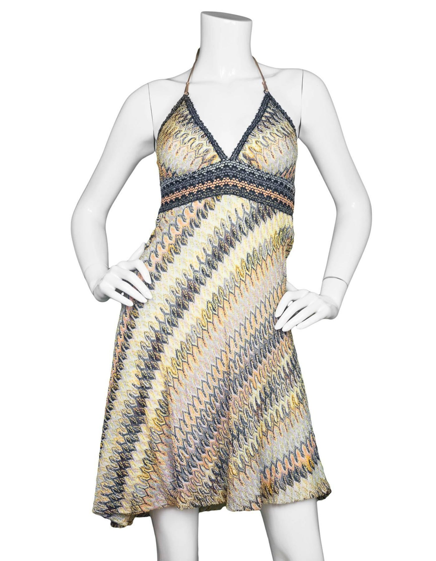9675ba57537a Missoni Mare Multi-Colored Knit Halter Dress sz S For Sale at 1stdibs
