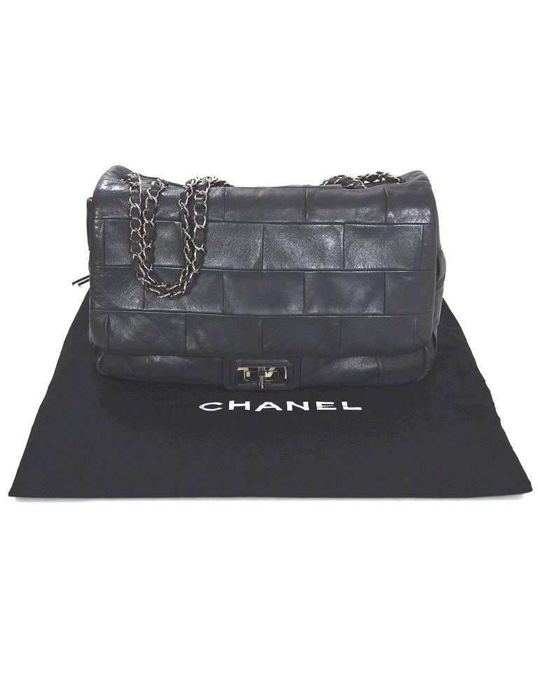 Chanel Grey Leather Square Quilted Reissue 2.55 Flap Bag For Sale 4