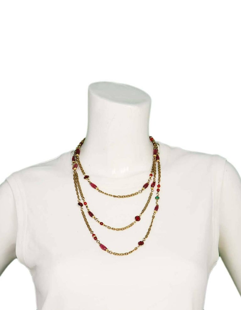 "Women's CHANEL Vintage '84 Crystal & Gripoix 64"" Long Necklace For Sale"