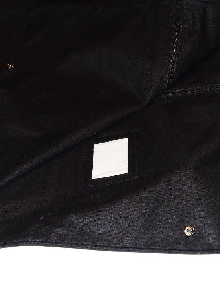 Chanel Black Canvas Garment Bag And Velvet Coat Hanger Set