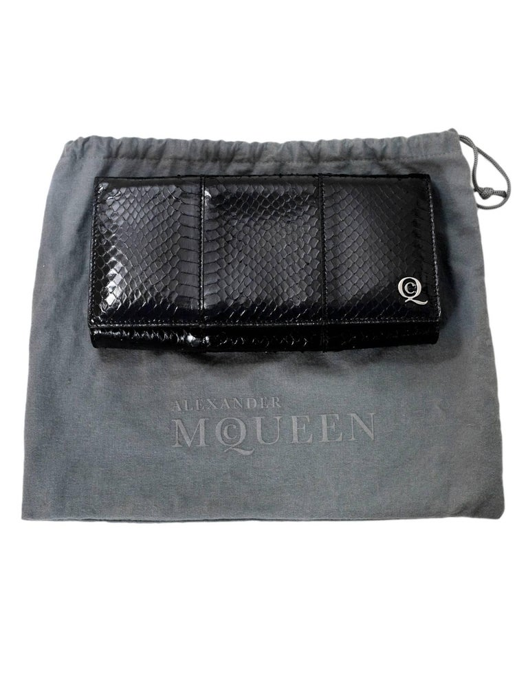 Alexander McQueen Black Python Clutch Bag For Sale 5