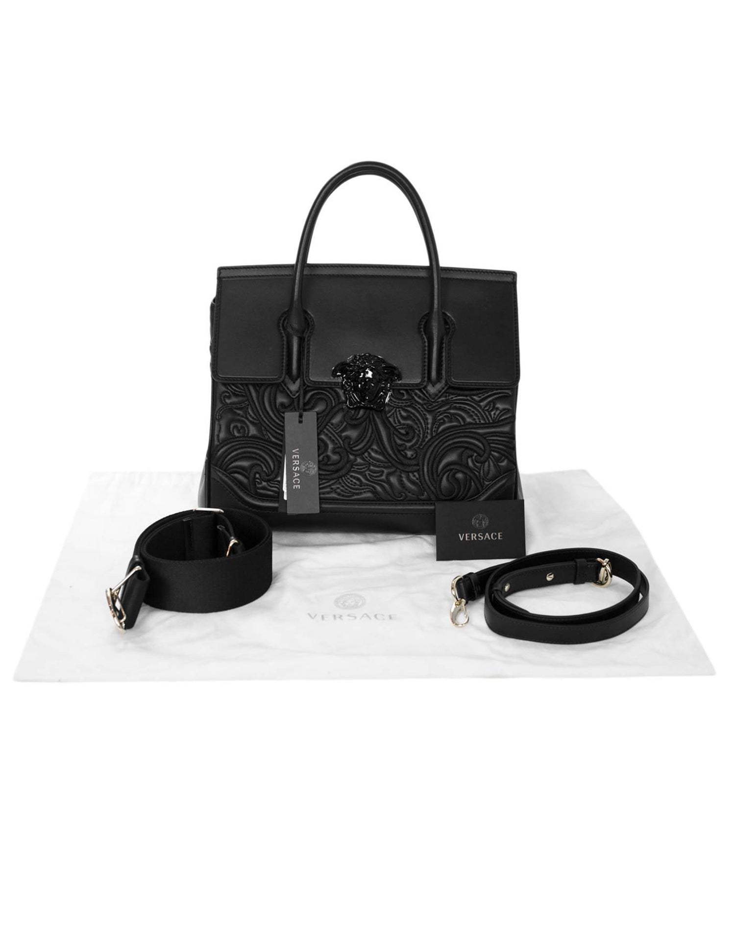 7ee9a40a3f Versace Black Medium Baroque Empire Palazzo Bag - NWT For Sale at 1stdibs