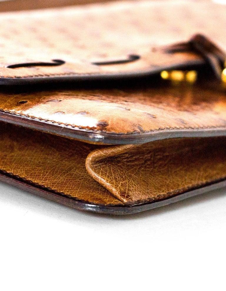 Women's Hermes Vintage Brown Ostrich Clutch/Shoulder Bag w. Tassel Detail For Sale