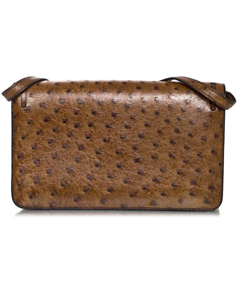 Hermes Vintage Brown Ostrich Clutch/Shoulder Bag w. Tassel Detail For Sale 1