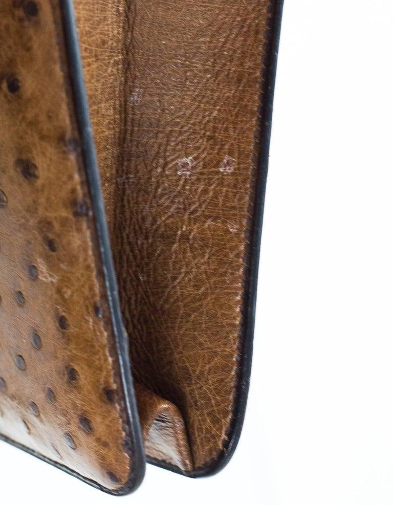 Hermes Vintage Brown Ostrich Clutch/Shoulder Bag w. Tassel Detail For Sale 2