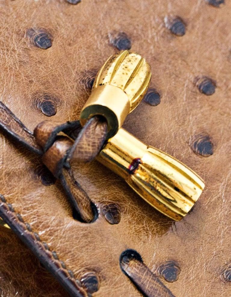 Hermes Vintage Brown Ostrich Clutch/Shoulder Bag w. Tassel Detail For Sale 6