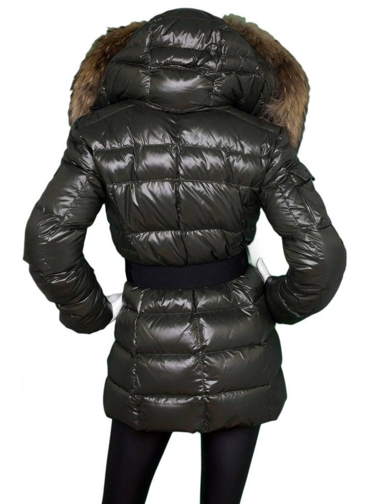 b9f80c00f SAM Dark Olive Puffer Coat with Raccoon Fur Size S