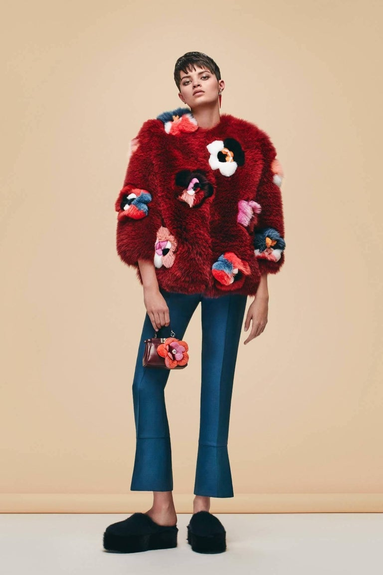 Fendi Ruby Red Fox Fur & Flower Applique Jacket Sz IT40 From pre-Autumn/Winter 2016 Collection  Made In: Italy Color: Ruby red, multi-color Composition: Fox fur Closure/Opening: Hidden front hook and eye closure Exterior/Interior Pockets: