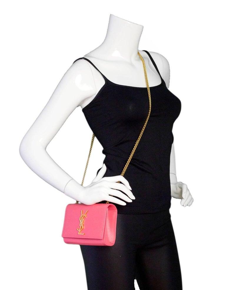1ba4772c1b69 Saint Laurent Pink Grain De Poudre Leather Small Monogram Kate ...