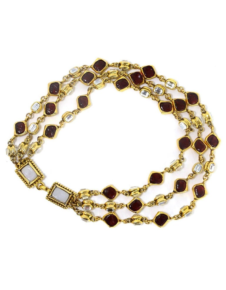 Chanel Vintage '80s Three Strand Red Gripoix & Strass Crystal Necklace In Excellent Condition For Sale In New York, NY